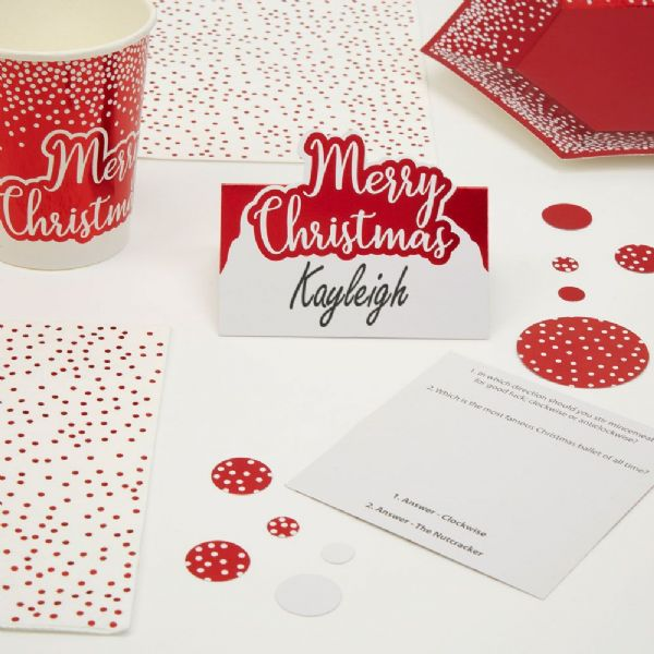 Merry Christmas Red & White Trivia Place Cards (10)
